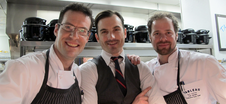from left to right: Executive Chef Marc Andre Choquette, GM Michael Love, Sous Chef Tret Jorden. credit: Anya Levykh