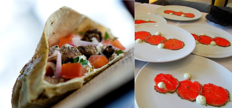 Left: Nu street food, image courtesy of Richard Bell, Right: Hawksworth's Beef Carpaccio, image by Anya Levykh