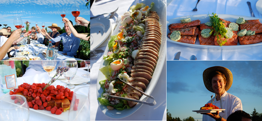 Clockwise from upper left: Raising a glass of Mission Hill's 5 Vineyard Rose, dungeness crab and albacore tuna salad, grilled sockeye salmon with parsley and basil butter, dessert arrives, lemon olive oil cake with just-picked summer berries. All photos: Rebecca Baugniet