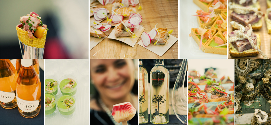 Photography by Rebecca Wellman Photography (http://www.rwellmanphotography.com/index2.php#/home/)   Pictured clockwise from top left:  Corned duck breast, pickled local beets, Salt Spring goat cheese, salted pecans - Panache at Bear Mtn.  FAS seared tuna with Ragley Farm radish, Metchosin pork Bahn Mi, Fol Epi ficelle - Passioneat Foods/ Cook Culture Chilled minted local pea soup, cold-smoked Lois Lake steelhead trout, lemon oil - Marina Restaurant Head cheese with pickles and mustards - The Whole Beast Fresh morels Butter-fried BC morel mushroom, Island Farmhouse chicken liver paté, olive filoncini - Forester's at Olympic View Golf Club Serendipity Winery  Mexican-based frozen pops using local fruit and organic dairy - Fruition Paletas Chilled local sweet corn & green curry soup with cilantro & Vancouver Island spot prawns - Bard and Banker Nichol Vineyard