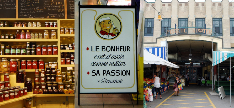 "from left to right: preserves on display at Au Coin Gourmand, a sign in front of a butcher's stall quotes Stendhal: ""Happiness is having your passion for your career"", one entrance to the market. All images: Rebecca Baugniet"
