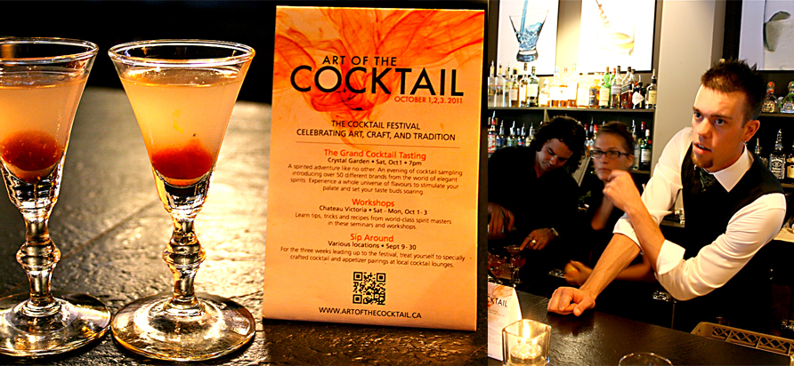 left - Aviation Cocktail - created in 1916 by Hugo Ensslin Gin, Maraschino Liqueur, Lemon, Creme de Violette Right - Josh Boudreau - Sauce bartender. all images: Maryanne Carmack
