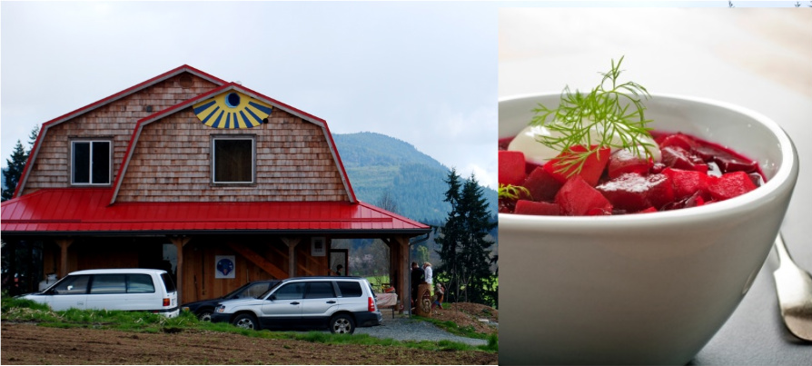 left: view of Alderlea Farm Cafe from Glenora Road, right: Borscht