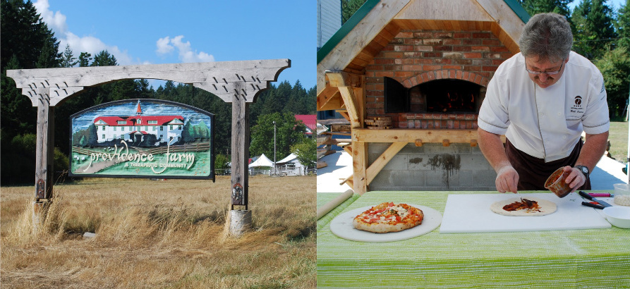 left: the entrance to Providence Farm, right: Chef Bill Jones prepares pizza in the James Barber Wood Burning Oven. credit: Rebecca Baugniet