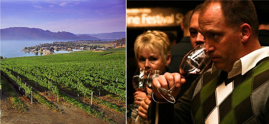 left: Quail's Gate Winery, right: tasting in Penticton. images courtesy of www.thewinefestivals.com