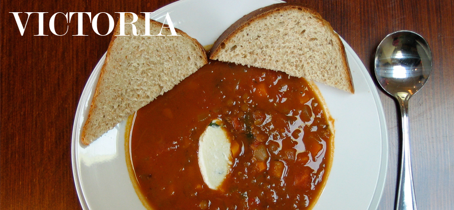 Piping hot tomato, vegetable and french lentil soup with herbed ricotta cheese and Hudson Jones freshly baked whole wheat bread.
