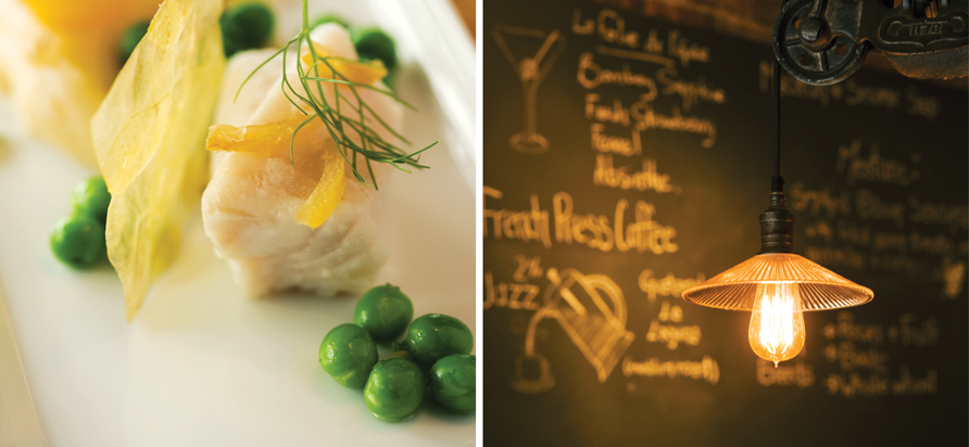 Lingcod confit with soft egg yolk, English peas and potato purée at Vis-a-Vis. Photo by Rebecca Wellman