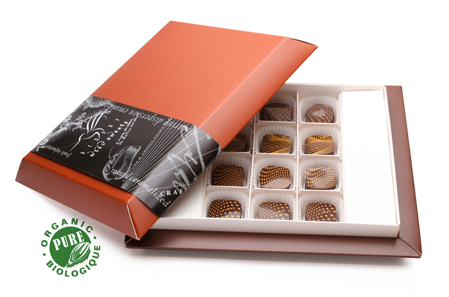 Soft, golden salted caramels with organic cane sugar, butter, whipping cream, and a touch of fresh lemon.