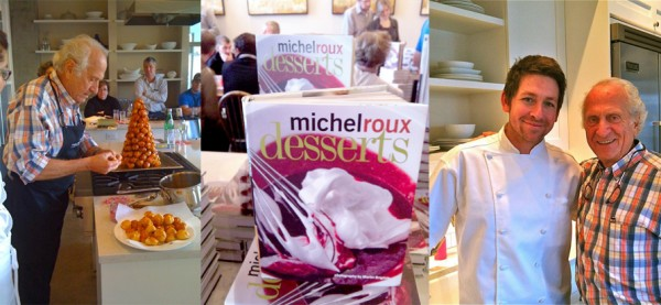 Left: Michel Roux making croquembouche. Middle: Desserts Right: Dan Hays and Michel Roux. Photos by Micayla Hays