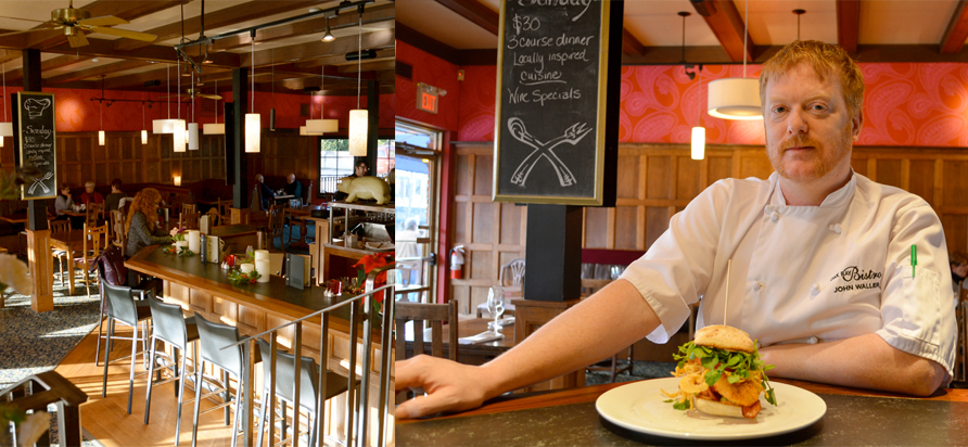 John Waller with his Crispy Chicken Ciabatta. Interior of the Oak Bay Bistro. Photo by Ellie Shortt