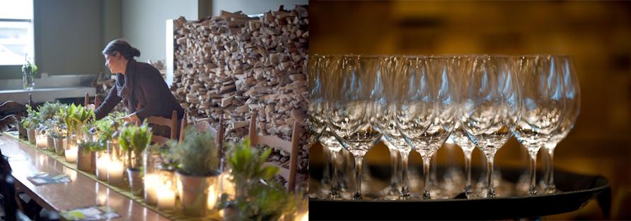 Long table image Courtesy of Pizzeria Prima Strada. Wine glass image Courtesy of BC Wine Institute