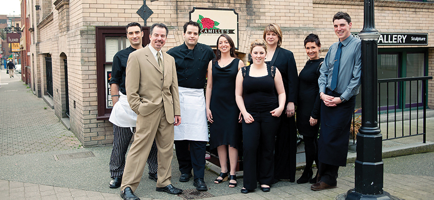 Left to right: Francois Boule—sous, David Mincey—owner, Stephen Drolet —chef, Lindsay Walker—Diningroom manager, Paige Robinson—owner,, Katelyn Schoen, Tracy Nesom, Chris Stephens (missing: Carling Battistuzzi). Photos by Rebecca Wellman