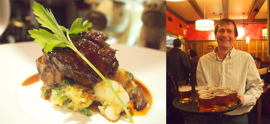 left: Hoyne Pilsner Carbonnade of Beef Shoulder. right: local Brewmaster Sean Hoyne