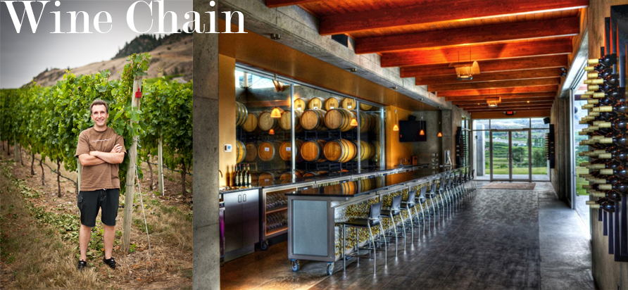 left: Winemaker Jeff Del Nin of Church and State Wines. right: Coyote Bowl interior
