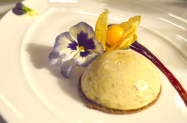 Chestnut cheesecake on a hazelnut brittle served with a cassis coulis. Photos by Ellie Shortt