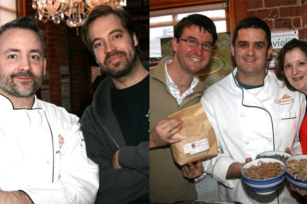 Executive Chef Aaron Lawrence and Brewmaster Daniel Murphy of Canoe Brewpub. Bruce Stewart - True Grain Bread, Matt Horn and Genevieve Maguire - Cowichan Pasta. Photo credit: Chris Smith