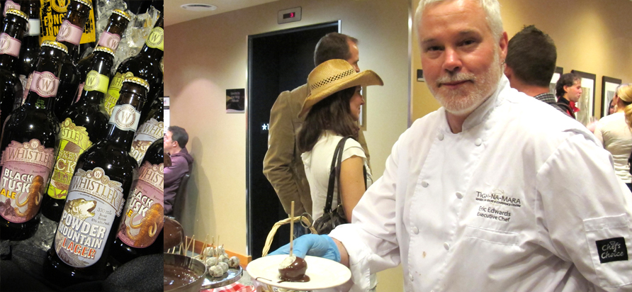 Tigh-Na-Mara Executive Chef, Eric Edwards, and the smash hit chocolate fountain at Parksville Untapped 2012. Photo by David Morrison