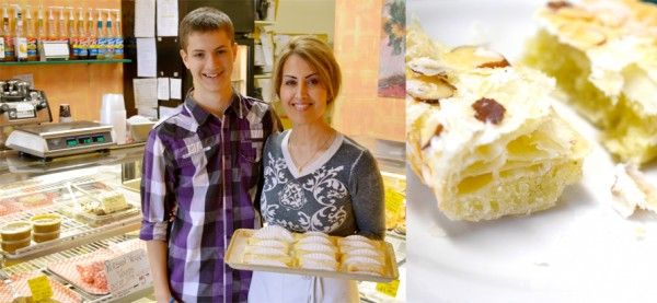 """left: Mojdeh Shaikhi, owner and head chef of The Village Patisserie (aka """"The Little Persian Place on the Avenue"""" with her son Shawhin (15). Right: Persian Pastry flavoured with rose water. Photos by Ellie shortt"""