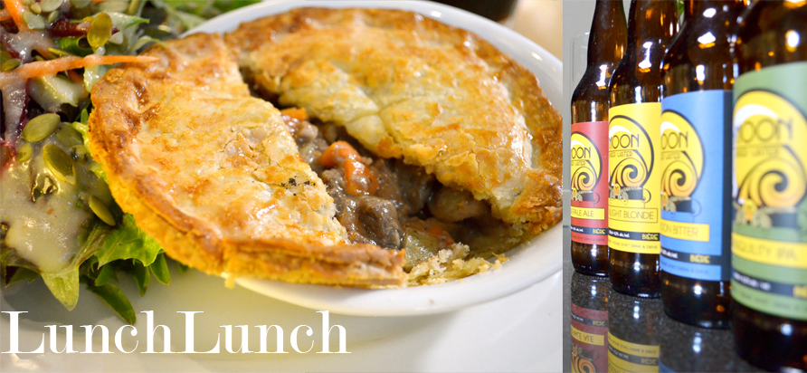 left: Stout-braised beef pie with a mixed green salad. right: Moon Under Water's house-brewed bottled beers. Photos by Elllie Shortt