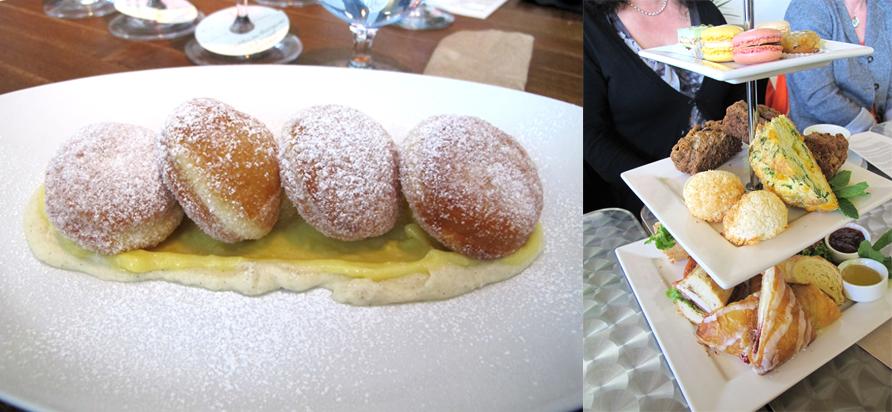 left: Joey bomboloni with lemon curd and mascarpone cream. right: Truffles afternoon tea. Photos by Anya Levykh