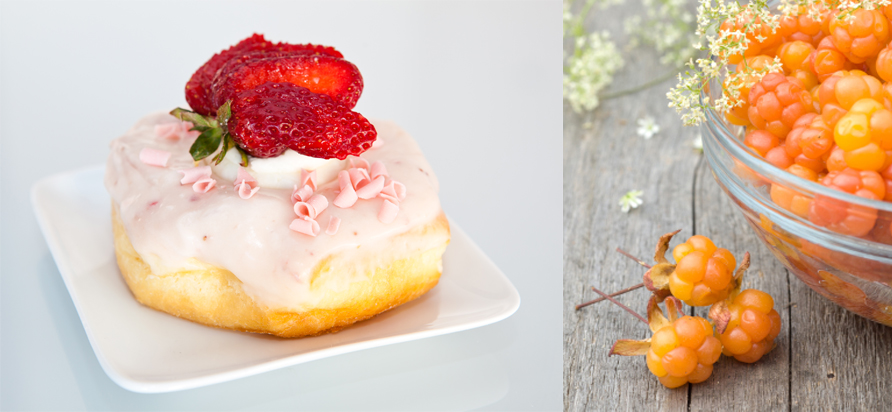 Berry Donut at Jelly Modern Donuts, Calgary. Photo courtesy of Jelly Modern Donuts. right: Cloudberries