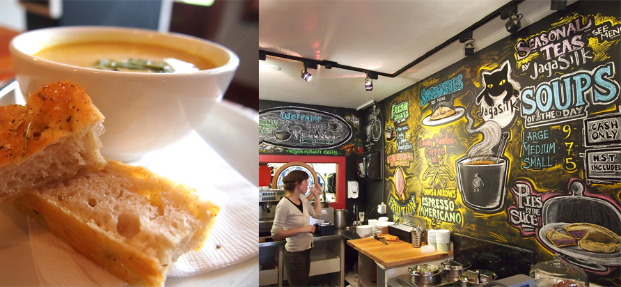 left: Yellow Coconut Curry Soup with Organic Focaccia. Photos by Deanna Ladret