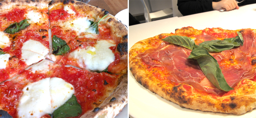 left: Novo's Margherita pizza. right: Nicli Antica Prosciutto and basil pizza. Photos by Anya Levykh