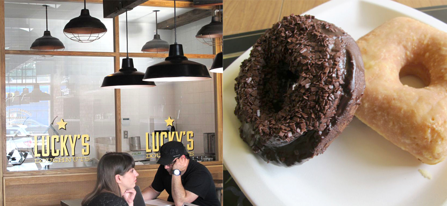 left: The interior of Lucky's Doughnuts. right: Lucky's chocolate old-fashioned and mango cream. Photos by Anya Levykh