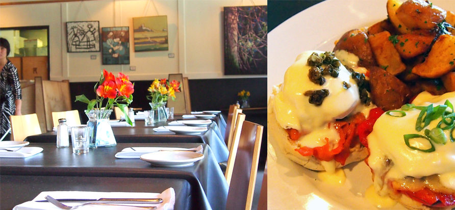 left: The interior of Heron Rock right: Smoked Salmon Benny. Photos by Deanna Ladret