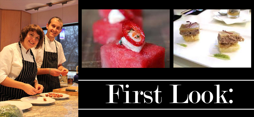 Left: Culinarius Owners Chef Chris Watt and Chef Fauna Martin. Center: Watermelon with Creme Fraiche and Chili. Right: Duck Rillette Crepe with Pink Peppercorn and Ginger Jam