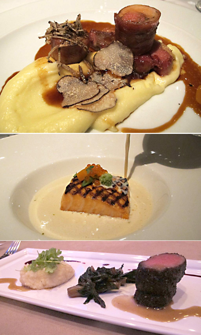 Top to bottom: Araxi hot smoked salmon & wild shellfish soup, Araxi roasted saddle of rabbit, housemade bacon, pomme puree, Alba truffles, Fairmont Grill Room spice-crusted venison loin, Swiss chard, celeriac mousse. Photos by Anya Levykh