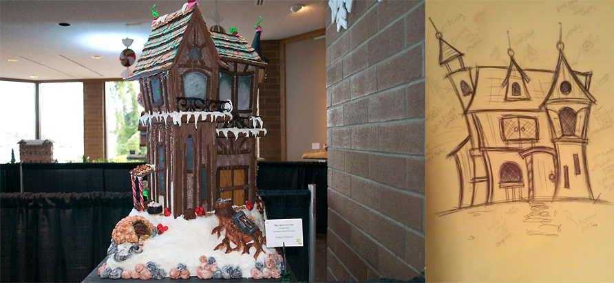 left: Gingerbread house created by Crystal Duck. right: Duck's original sketch
