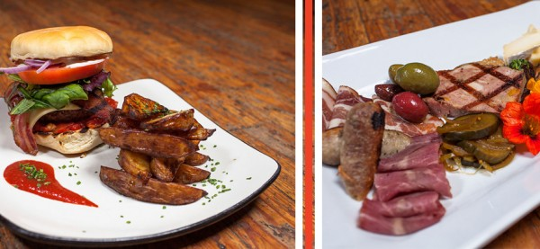 Left: Bison Burger with confit potato wedges. Right: Charcuterie Platter with house made charcuterie and condiments. Photo: Derek Ford