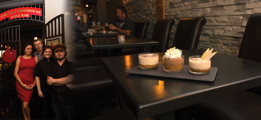 Left: from left to right, Sommelier Sonja Todd, Owner Jeff Downie, Dessert cook Michelle McHugh, and Kitchen Head/Music coordinator Shawn Allen. Right: dessert flight (Tiramisu, Mayan chocolate cheesecake, and a tea infused cheesecake)