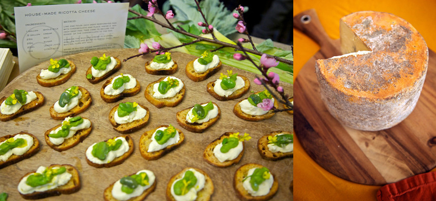 Left: Housemade Ricotta Cheese Crostinis at the Grand Cheese Tasting and Best in Cheese Competition right: A wheel of Willapa Hills Farmstead Cheese at California's Artisan Cheese Festival. Photo credit: Derrick Story