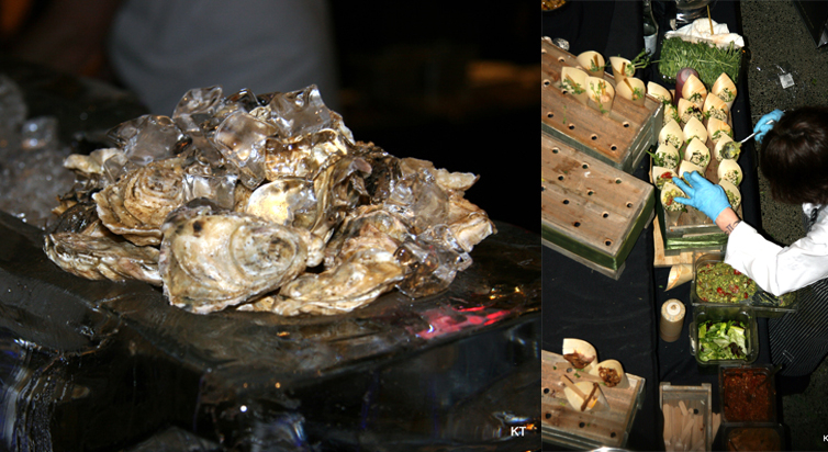 Left: Effingham Oysters on the half shell. Right: The chefs at Tigh Na Mara prepping for Swirl