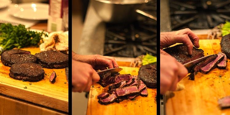 Slicing the Chocolate-crusted Rib Eye Steaks