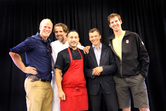 Left to right: Adam Kreek (Olympic Rower), Jeff Keenliside, Kunal Ghose, Simon Whitfield (Olympic triathlete) , Jerry Brown (Olympic Rower)