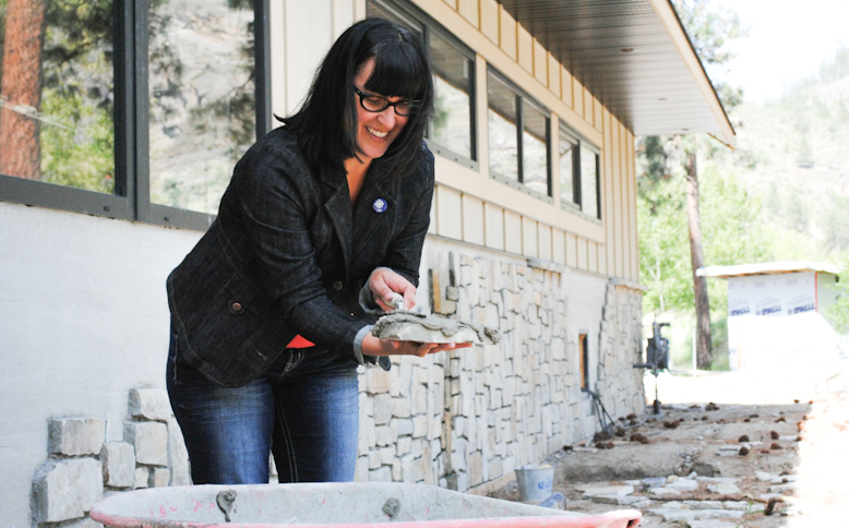 The author tries her hand at masonry - with guidance