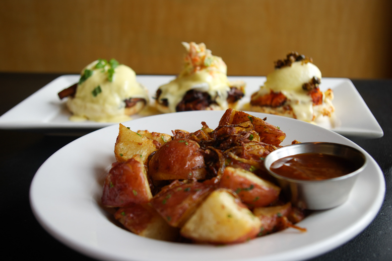 Hash browns with Chef's Triple Benny (Heron)