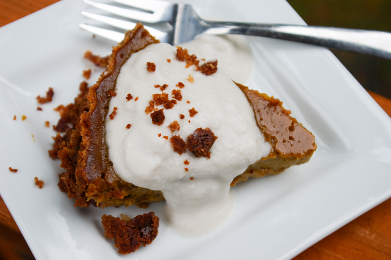 Pumpkin pie and coconut cream