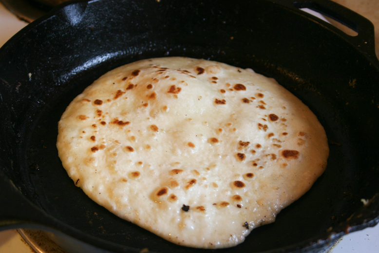 chapati - puffing up in the pan