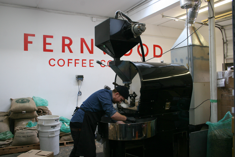 Fernwood Coffee's Adrian White  getting into the beans