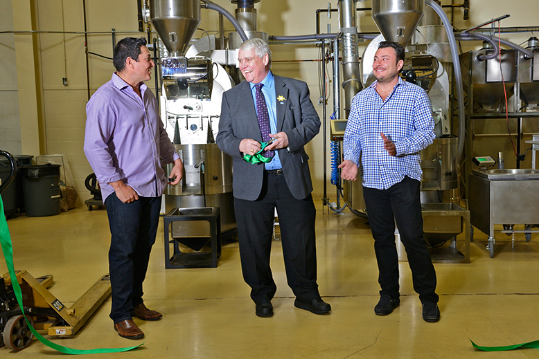 Oughtred's Earth Day unveiling of their new green tech roasters. Michael Oughtred, Co-Owner, Oughtred Coffee & Tea, Deputy Mayor/Councillor Bruce McDonald, Delta, John Oughtred, Co-Owner, Oughtred Coffee & Tea