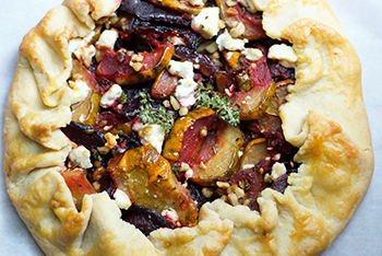 Roasted beet and squash galette