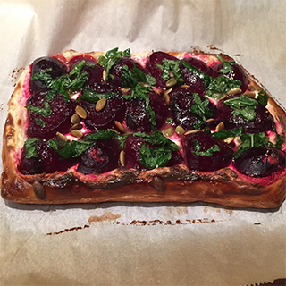 Instagram @pjdias87 A variation on an Ottolenghi recipe-- roasted beet galette with lemon and mint vinaigrette