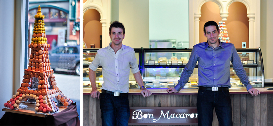 left: Macaron Eiffel Tower right: Owners Yann Fougere and David Boetti