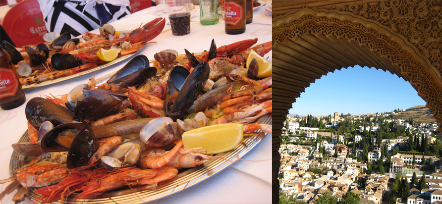 Seafood feast at Bonobos, View of Granada from the Alhambra. Photos by Courtney Schwegel