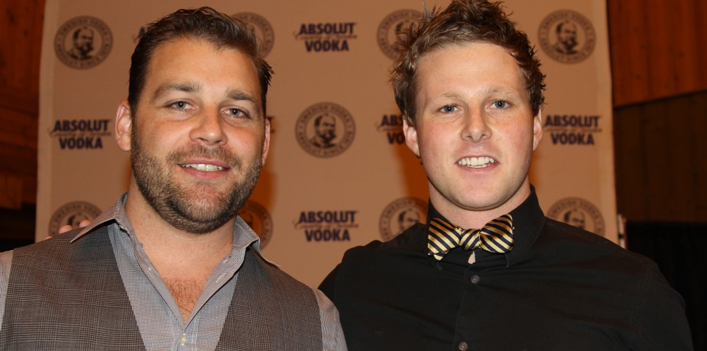 Left in grey: is Jacob Sweetapple from ABSOLUT. Right in the black and bow tie: Grant Sceney the winner.