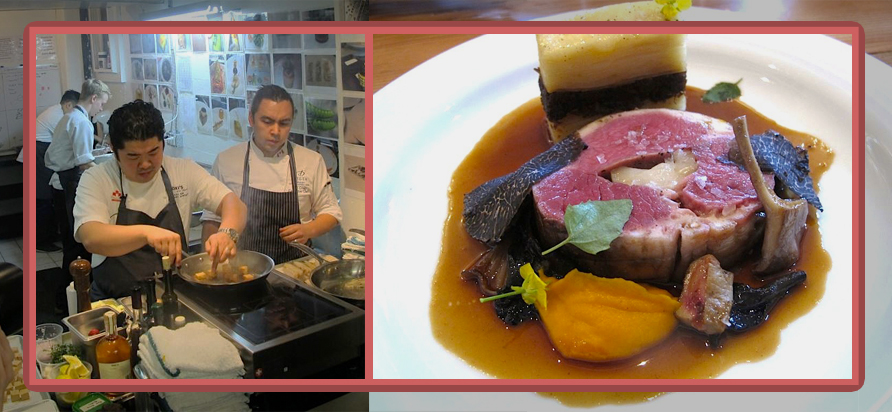 Left: Chef Chen in his test kitchen practicing. Right: roasted beef tenderloin with bone marrow roulade, seared foie gras, black trumpet mushrooms, oxtail gratin and shaved black truffles.